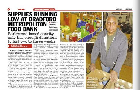 Bradford Metropolitan Food Bank runs low on supplies