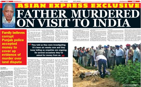 Father murdered on visit to India